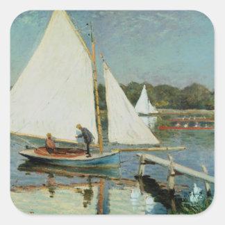 Claude Monet | Sailing at Argenteuil, c.1874 Square Sticker