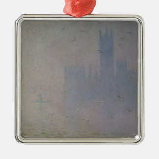 Claude Monet | Seagulls over Houses of Parliament Silver-Colored Square Decoration