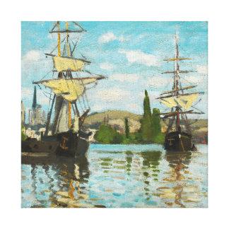 Claude Monet Ships Riding On The Seine At Rouen Canvas Print