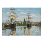 Claude Monet | Ships Riding on the Seine at Rouen Poster