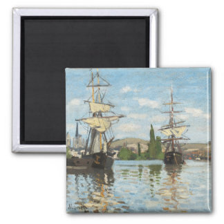 Claude Monet | Ships Riding on the Seine at Rouen Square Magnet
