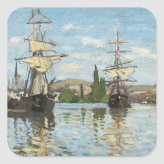 Claude Monet | Ships Riding on the Seine at Rouen Square Sticker