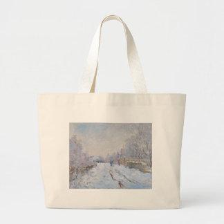 Claude Monet // Snow at Argenteuil Canvas Bags