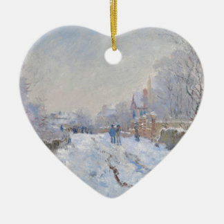 Claude Monet // Snow at Argenteuil Ceramic Heart Decoration