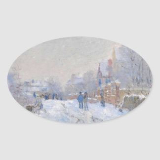 Claude Monet // Snow at Argenteuil Oval Sticker