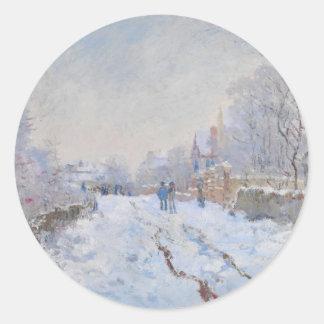 Claude Monet // Snow at Argenteuil Round Sticker