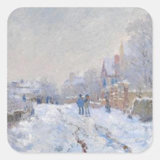 Claude Monet // Snow at Argenteuil Square Sticker