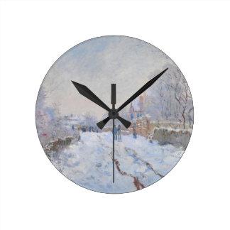 Claude Monet // Snow at Argenteuil Wall Clock