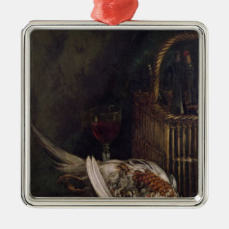 Claude Monet | Still Life with a Pheasant, c.1861 Silver-Colored Square Decoration