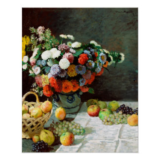 Claude Monet Still Life with Flowers and Fruit Poster