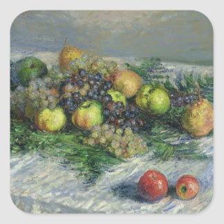 Claude Monet | Still Life with Pears and Grapes Square Sticker