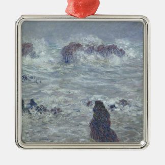 Claude Monet | Storm, off the Coast of Belle-Ile Silver-Colored Square Decoration