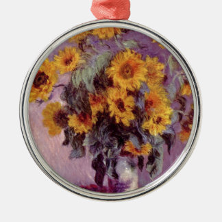 Claude Monet // Sunflowers Silver-Colored Round Decoration