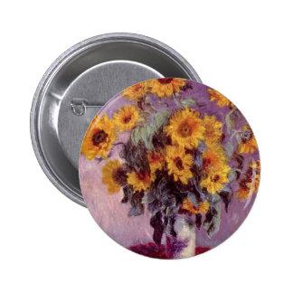 Claude Monet Sunflowers Pinback Button