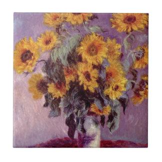 Claude Monet // Sunflowers Small Square Tile