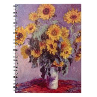 Claude Monet Sunflowers Spiral Notebooks