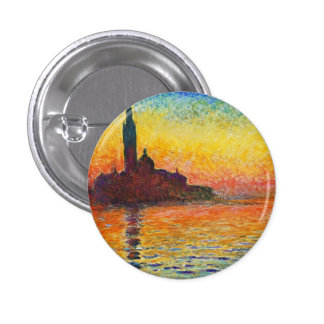 Claude Monet Sunset In Venice Impressionist Art 3 Cm Round Badge