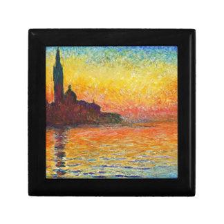 Claude Monet Sunset In Venice Impressionist Art Small Square Gift Box