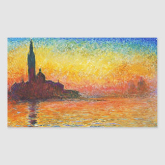 Claude Monet Sunset In Venice Impressionist Art Rectangular Sticker