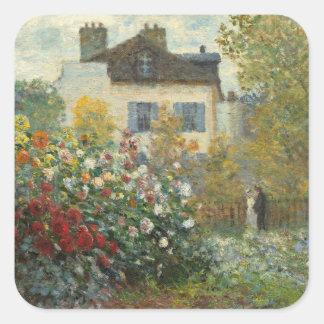 Claude Monet | The Artist's Garden in Argenteuil Square Sticker