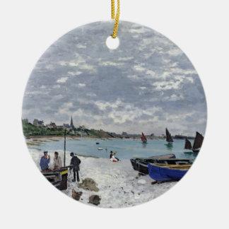 Claude Monet   The Beach at Sainte-Adresse Christmas Ornament