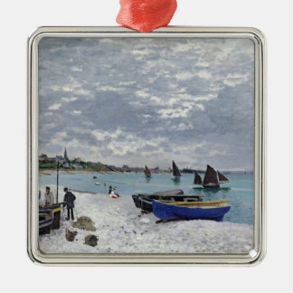Claude Monet   The Beach at Sainte-Adresse Silver-Colored Square Decoration