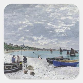 Claude Monet | The Beach at Sainte-Adresse Square Sticker