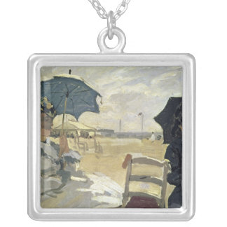 Claude Monet | The Beach at Trouville, 1870 Silver Plated Necklace