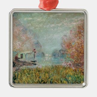 Claude Monet | The Boat Studio on the Seine, 1875 Silver-Colored Square Decoration