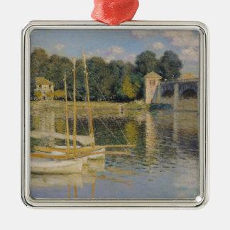 Claude Monet | The Bridge at Argenteuil, 1874 Silver-Colored Square Decoration