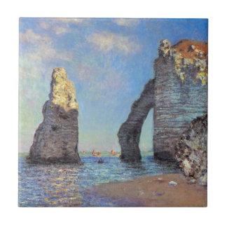 Claude Monet // The Cliffs at Etretat Small Square Tile
