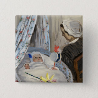 Claude Monet | The Cradle, Camille with Son Jean 15 Cm Square Badge
