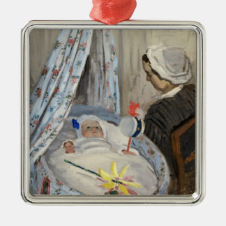 Claude Monet | The Cradle, Camille with Son Jean Silver-Colored Square Decoration