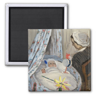Claude Monet | The Cradle, Camille with Son Jean Square Magnet
