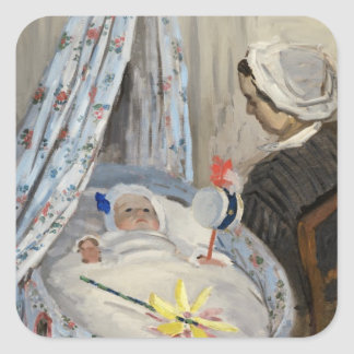Claude Monet | The Cradle, Camille with Son Jean Square Sticker