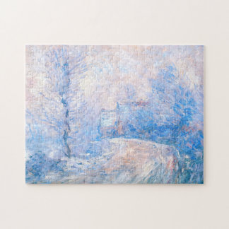 Claude Monet: The Entrance to Giverny under Snow Jigsaw Puzzle