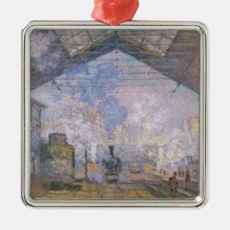 Claude Monet   The Gare St. Lazare, 1877 Silver-Colored Square Decoration