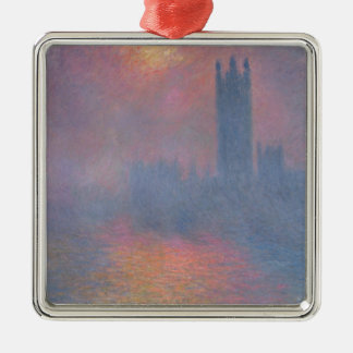 Claude Monet | The Houses of Parliament, London Silver-Colored Square Decoration