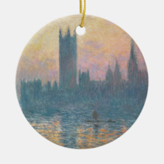 Claude Monet   The Houses of Parliament, Sunset Round Ceramic Decoration