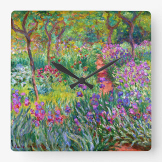 Claude Monet: The Iris Garden at Giverny Square Wall Clock
