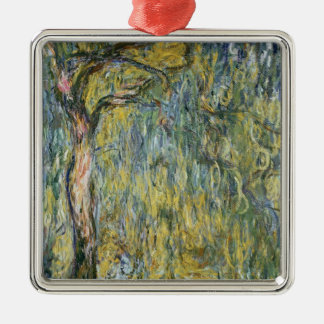 Claude Monet | The Large Willow at Giverny, 1918 Silver-Colored Square Decoration