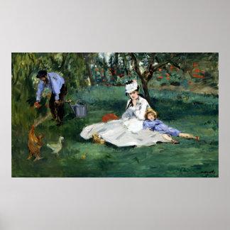 Claude Monet The Monet Family in Their Garden Poster