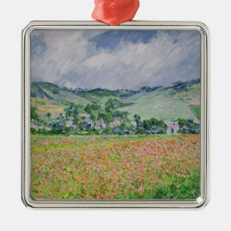 Claude Monet | The Poppy Field near Giverny, 1885 Silver-Colored Square Decoration