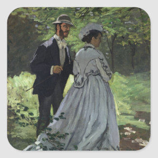 Claude Monet | The Promenaders, Bazille, Camille Square Sticker