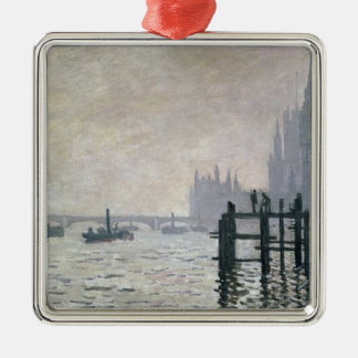 Claude Monet | The Thames below Westminster Silver-Colored Square Decoration
