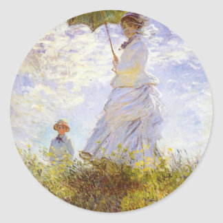 Claude Monet - The Woman With The Parasol Classic Round Sticker