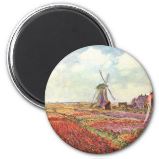 Claude Monet Tulips in Holland Magnet
