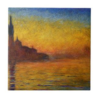 Claude Monet // Venice Twilight Small Square Tile