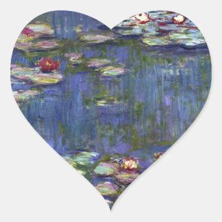Claude Monet Water Lilies Heart Sticker