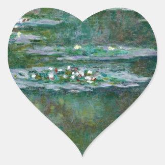 Claude Monet // Water Lilies Heart Sticker